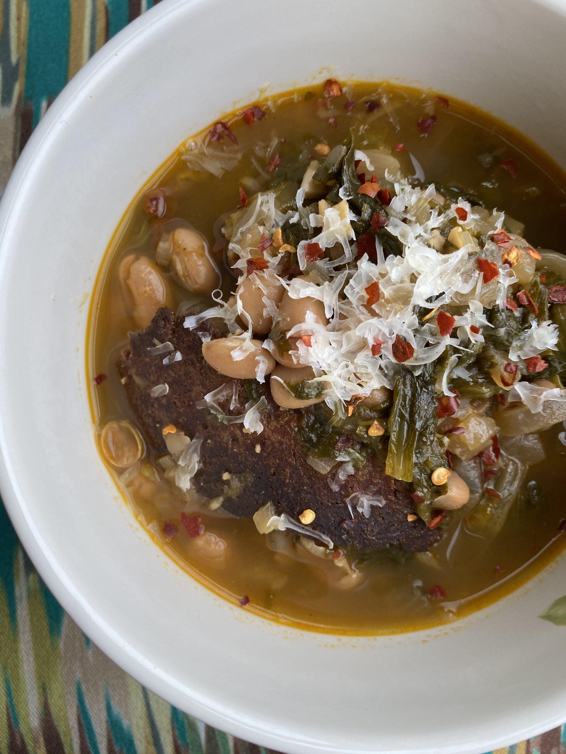 Vegan Escarole and White Bean Soup w/ Vegan Bacon